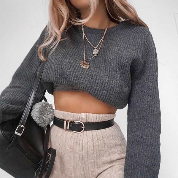 allneon round neck solid cropped women sweaters long sleeve loose knitting short pullover for female basic jersey mujer casual, White;black