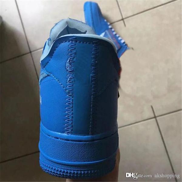 2019 Nouveau Hors Authentique Air Force1 1 Bas MCA Bleu Blanc Hommes Femmes Chaussures De Course Chaussures De Sport Sneakers CI1173-400 Avec Boîte d'origine