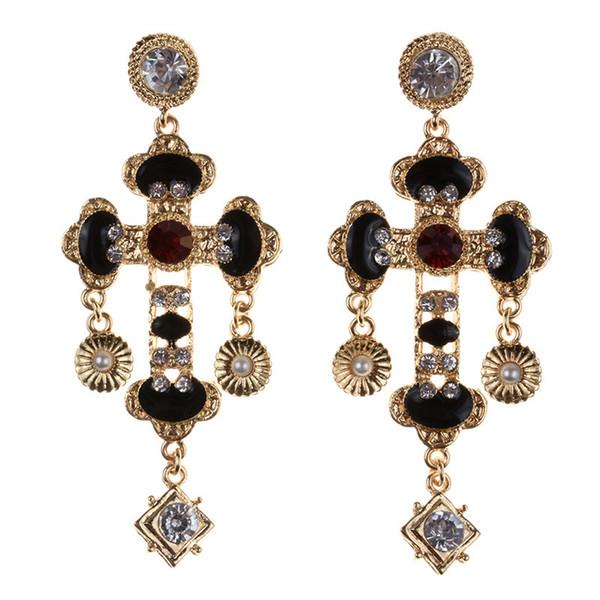 Dichiarazione d'epoca barocca Croce forte calo delle donne degli orecchini di lusso Bohemian Ethnic cristallo strass lungo ciondola gli orecchini femminile