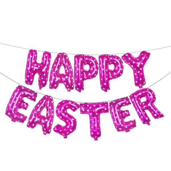 2019 New 16 Inch Happy Easter Letter Balloon Combination Party Decorative Gold Silver Blue Pink Aluminium Foil Balloon Mixed