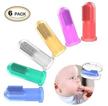 Baby Finger Toothbrush with box Children Teeth Clear Massage Soft Silicone Infant Rubber Cleaning Brush Massager Set Cute