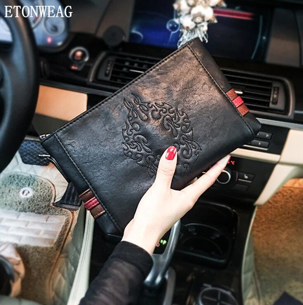 Factory wholesale men handbag original design embroidery pattern hand bag street trend embossed leather storage wallet Joker leather mobile