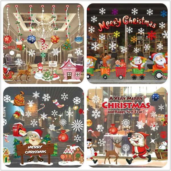Christmas decorations hotsale creative larger shop window glass Christmas wall stickers removable Christmas window stickers home decorations