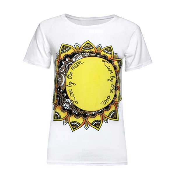 New Summer Sunflower Printed T-Shirt Fashion Design Short Sleeve O-neck Casual Loose T-Shirt For Women Girls
