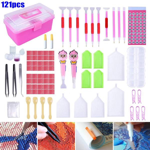 New hot 121 pcs 5d diy pintura diamante kit de ferramentas diy pintura acessórios kits de ponto cruz da arte smd66