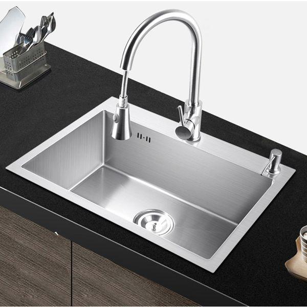 top popular kitchen sink single bowl above counter or udermount Installation Handmade brushed seamless 304 stainless steel sink kitchen 2021