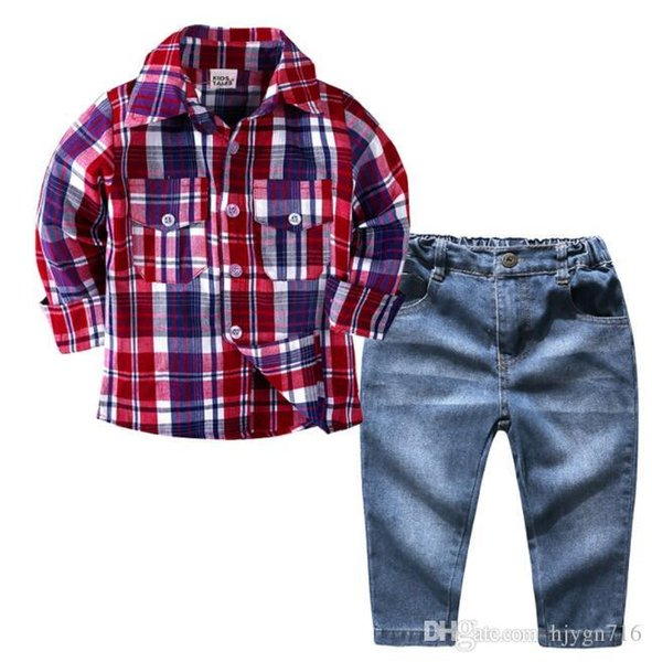 2019 Children's Chequered Boy's Blouse Jeans Suit Children's Long Sleeve Shirt and Trousers Two-piece Suit SIZE 2T-7T