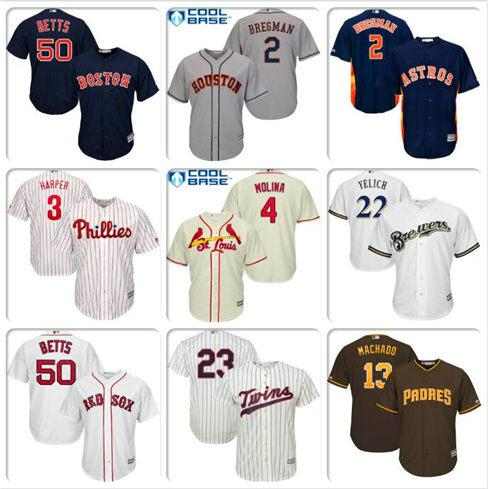 Mens Alex Bregman Yadier Molina Bryce Harper Jersey Nelson Cruz Mookie Betts Manny Machado Christian Yelich Sports baseball jerseys style