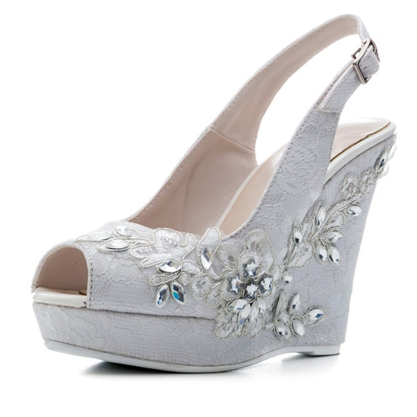 Fashion Lace Wedges Sandals Crystal Flowers High Heel Sandals Women Platform Buckle Straps Shoes Summer Party Shoes