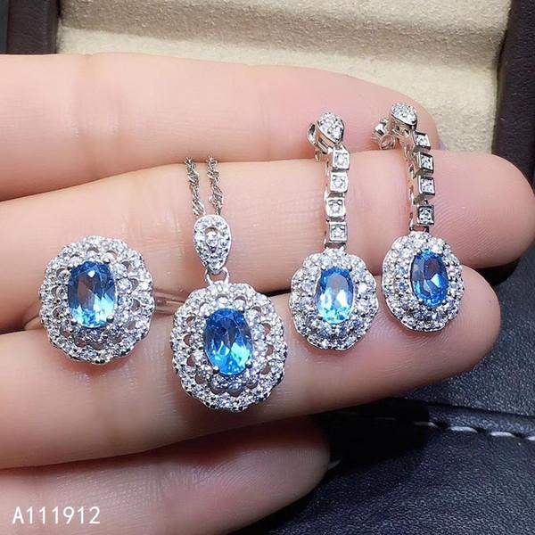 KJJEAXCMY joyería fina de color topacio naturales de ley 925 pendientes de la cadena collar de plata las mujeres el anillo colgante de prueba de apoyo conjunto clásico