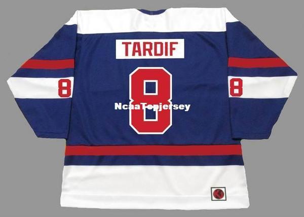 benutzerdefinierte Herren Trikots # 8 MARC TARDIF Quebec Nordiques 1974 WHA Retro Hockey Jersey