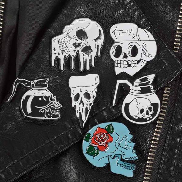 Großhandel Punk Skeleton Pins Schädel Broschen Dark Revers Teekanne Pins Rose Skelett Abzeichen Rucksack Tasche Hut Lederjacken Mode Accessoire Drop