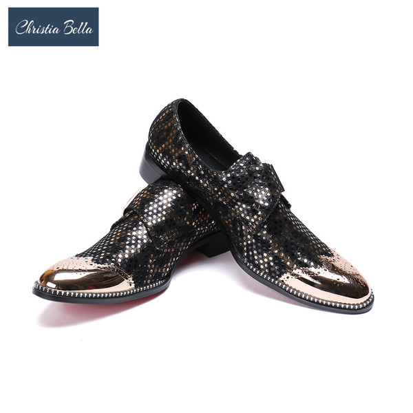 Christia Bella Luxury Shoes Men Brogue Shoes Shiny Genuine Leather Men Dress Buckle Strap Oxfords for Sapato