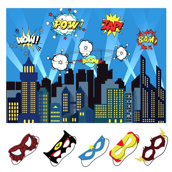 Ourwarm Birthday Party Decoration Kids Boy 5x7ft City Photography Backdrop And Superhero Party Masks Superhero Backdrop J190706