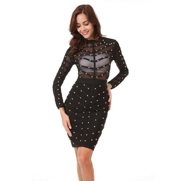 2018 New Women Sexy Evening Party Bodycon Dress Mesh Celebrity Long Sleeve Bandage Dress Vestidos Clothing Y190410