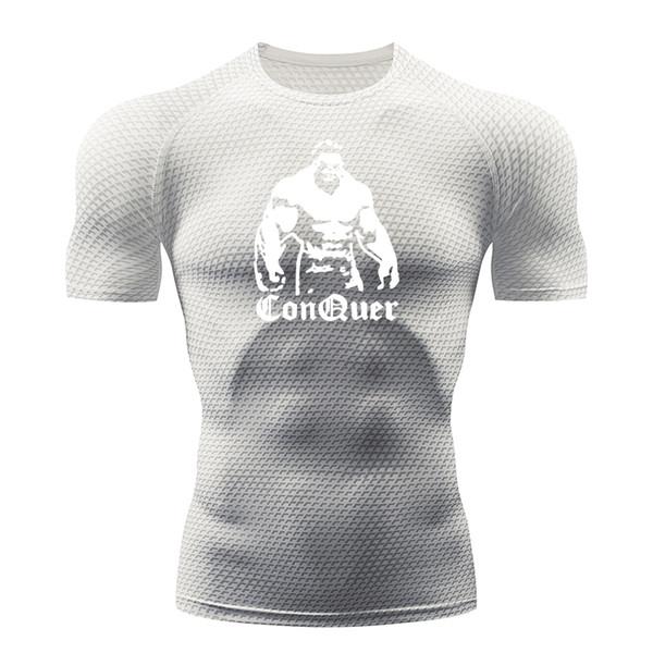 T-shirt da running per uomo attillata a rapida asciugatura rapida da uomo 3d maglietta sportiva a maniche corte stampata gigante a maniche corte abbigliamento da uomo