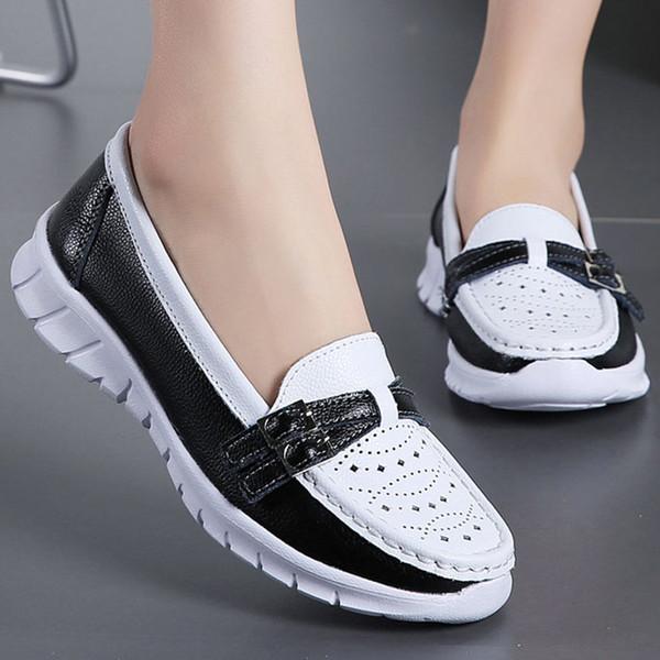 Frauen Müßiggänger Schuhe Aus Echtem Spaltleder Slip on Buckle Flache Ferse Ballerines Damen Turnschuhe Arbeitsschuhe Zapatos De Mujer 1840W