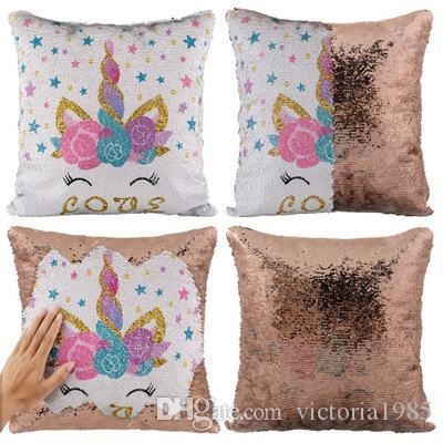 """Miracille Reversible Sequins Unicorn Throw Pillow Case Home Sofa Decorative Cushion Covers 16""""x16"""" Drop Shipping"""