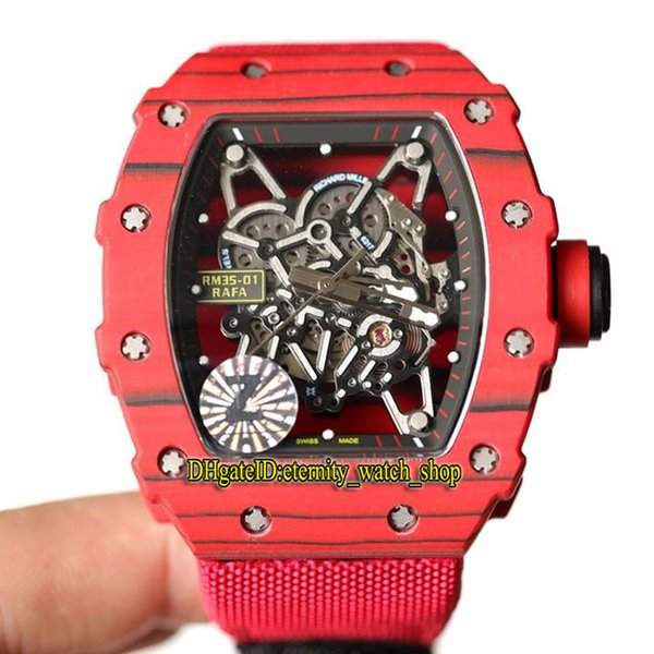Top version RM35-01 RAFA Skeleton Dial NTPT All Carbon Fiber Red Case Japan NH Automatic 35-01 Mens Watch Red Nylon Strap Sport Watches