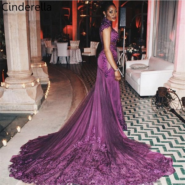Cinderella High Neck Long Sleeves Lace Applique Pearl Beaded Court Train Sheer Back Evening Dresses vestidos de fiesta de noche