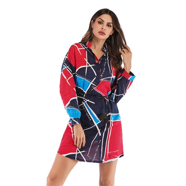 Europe And America Long Shirts With Long Sleeve Stand Collar Contrast Color Geometric Print Panelled In Flexible Ribbon Two Flexible Buttons