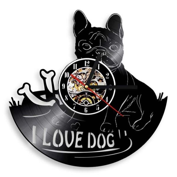 Franse Bulldog Vinyl Record Art Relógio de Parede de Vinil Presente Da Decoração Da Casa Handmade Art Personalidade Presente (Tamanho: 12 polegadas, Cor: Preto)