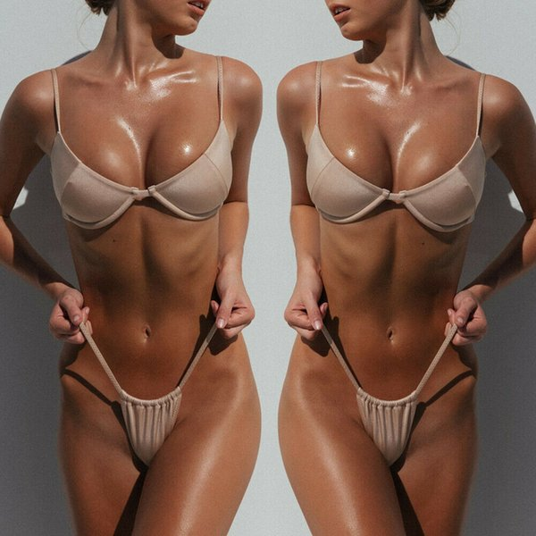New Sexy Womens Bikini Set Bandagem Push-Up Acolchoado Sutiã Swimwear Swimsuit Maiô