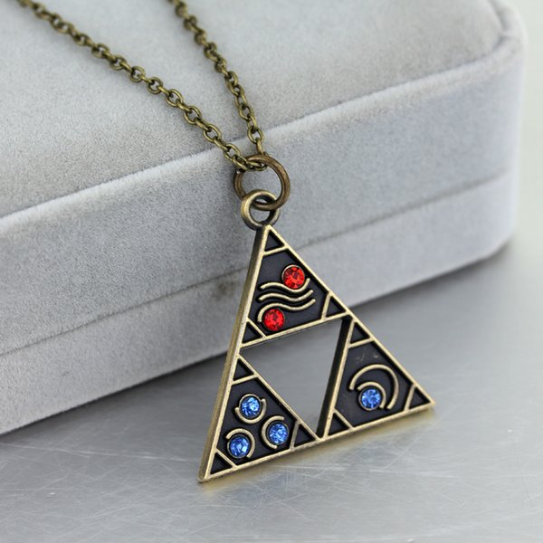 10pcs Anime Game Jewelry The Legend Of Triforce Zelda Triangle Otaku Pendant Necklace Bronze Plated Vintage Accessories C19041203