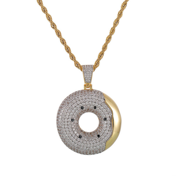 Swim Ring Pendant Necklace Gold Plated Copper Inlaid Cubic Zirconia Swimming Circle Pendant 60cm Chain Mens Accessories