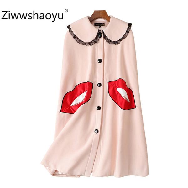 Pista Autunno Inverno di Ziwwshaoyu Donne Mantello cappotto Outwear Fashion Red labbra modello misto lana Outwear