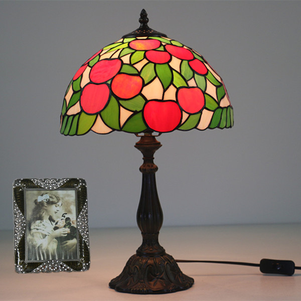 Stained Glass Red Apple Table Lamp Wedding Marriage Living Drawing Room Art Deco LED Bedside Desk Lamp Light Study Reading Lighting Dia30cm