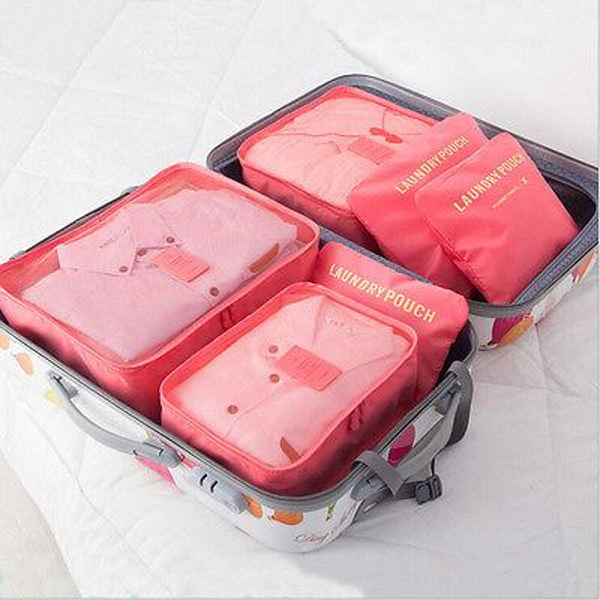 Hot 6pcs Bags Set Travel Luggage Waterproof Storage Organizer Packing Bag Clothes Case Handbag Pouch