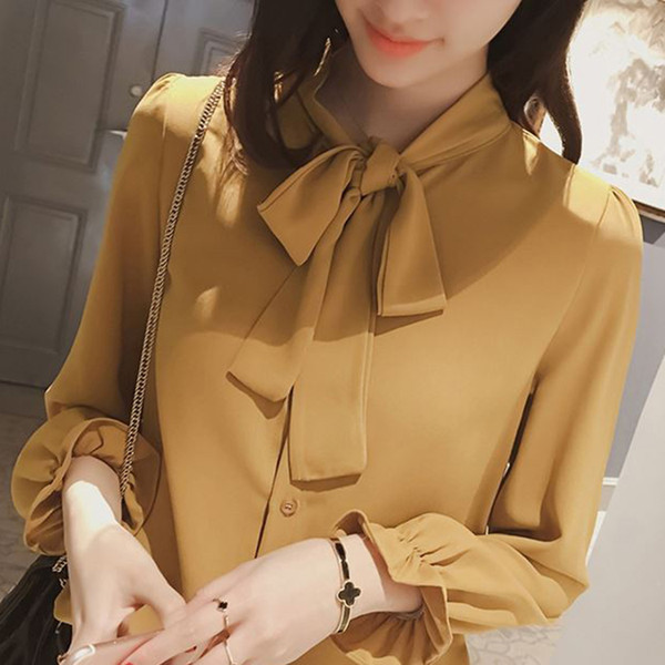 White Tie Neck Bow Ruffle Plain Color Top Stand Collar Long Sleeve Women OL Style Blouse 2019 Summer New Elegant Work Blouse