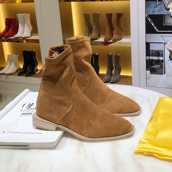 High quality luxury designer ladies winter boots, white glossy neoprene short heel and ankle boots leather bottom ladies fashion boots 014