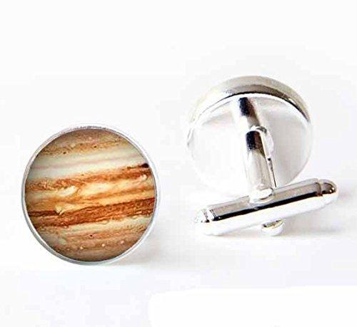 Vintage Jupiter Glass Cuff Links Silver Luxury Planet Solar System Galaxy Cufflinks for Men Women-Handmade Shirts Dress Suits Christmas Trav