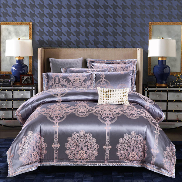 Gray Luxury Silk Satin Bedding Set King Queen Size Bed sheet fitted sheet set Duvet cover Bed set parure de lit ropa de cama