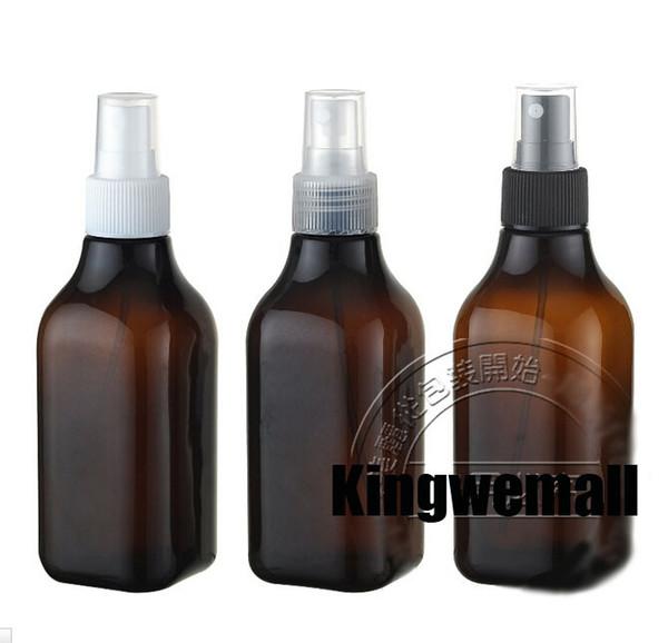 300 pçs / lote 200 ml Âmbar Portátil Aftershave / Maquiagem / Perfume Vazio Garrafa Spray Atomizador Marrom
