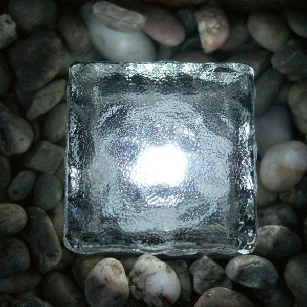 Iluminação solar auto iluminação LED tijolos noite lâmpada iluminação subterrânea simulação gelo cubo lite Solar iluminação gramado luz