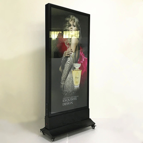 80*180cm Outdoor Stand Restaurant Led Menu Boards Movable Double Sided Aluminum Advertising Poster Frame Light Boxes