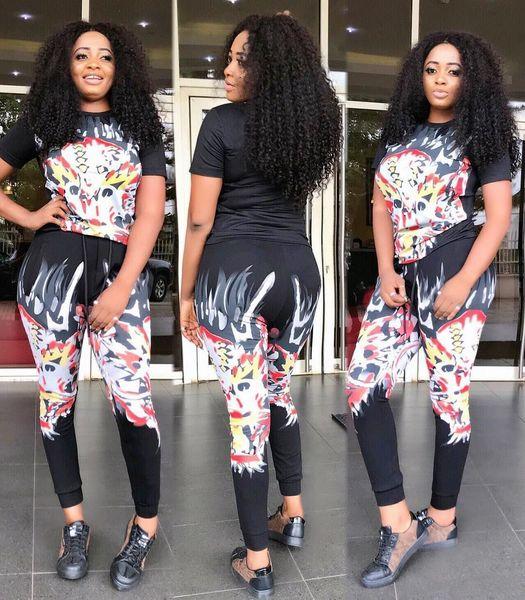 Бесплатный корабль женщины мода панк стиль печати из двух частей брюки повседневная тонкая футболка и брюки набор Леди наряды спортивные костюмы