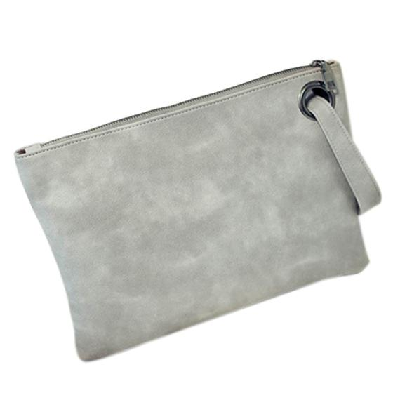 Fashion Solid Women's Clutch Bag Leather Bag Women Envelope Clutch Evening Female Clutches Handbag #1 (gray)