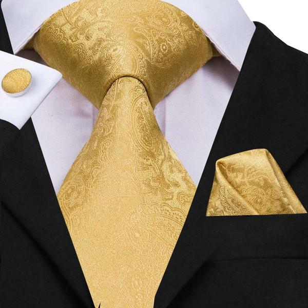Hi-Tie Partido hombres de seda Tie Conjunto floral amarillo oro corbatas y pañuelos gemelos conjunto de los hombres de la boda juego de la manera corbata C-3053