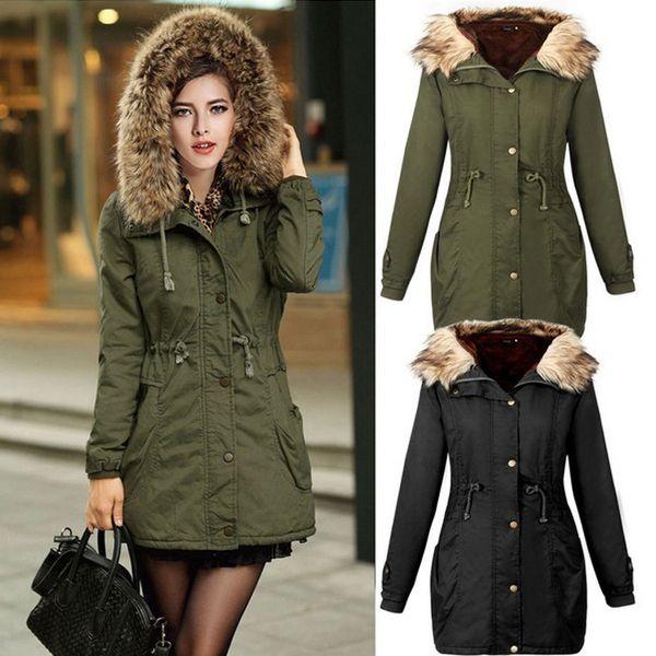 Fashion Women Winter Coat Casual Cotton Army Green Hooded Parkas Long Thick Ladies Women Clothing Warm Women Jacket Plus Size
