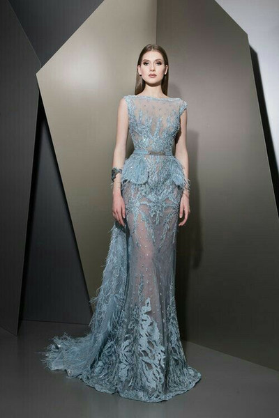 Evening dress Ziad naked Elie saab Yousef aijasmi 2018 Off shoulder Mermaid Feather Blue With trail Appliques Zuhair murad Kylie Jenner 92