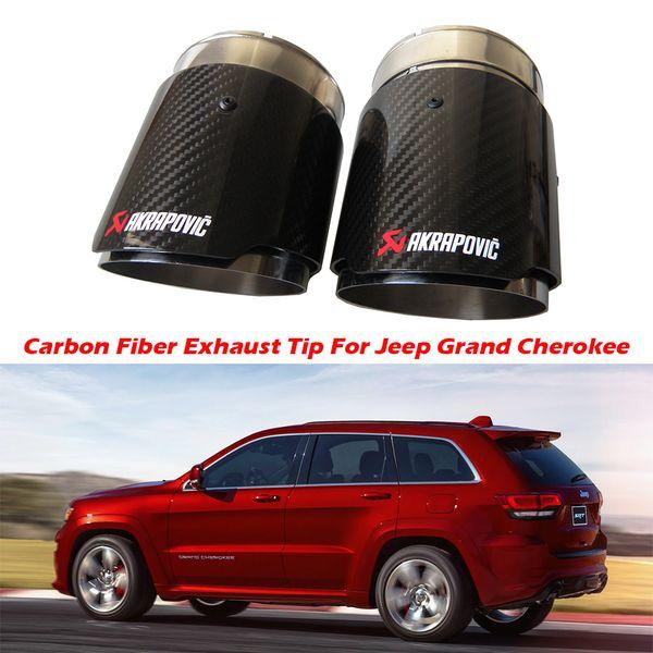 2PCS Carbon Fiber Exhaust Tip For Jeep Grand Cherokee Carbon Fiber Akrapovic Muffler Tips Car Exhaust Pipes