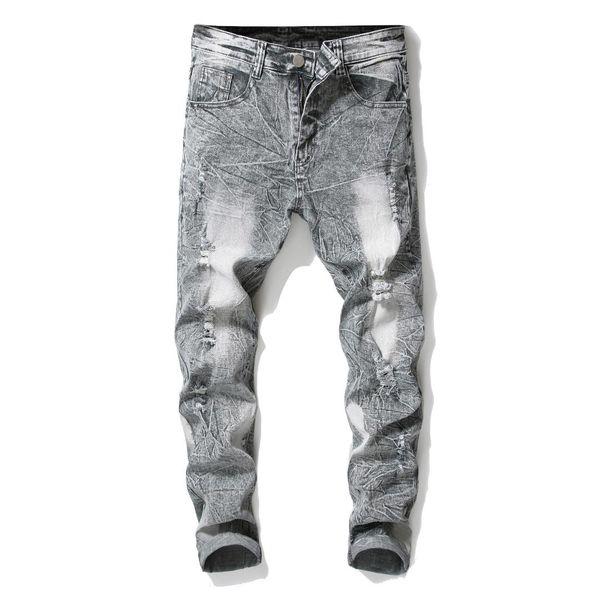 Açık gri Denim Pantolon Kar Yıkama Erkekler Jeans Marka Tasarım Erkekler Yüksek Kalite İçin düz İnce Streç Casual Jeans Ripped