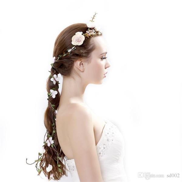 Coroa de flores Rosa Grinaldas Simulação Rattan Cabelo Cor Branca Flores Artificiais Dama de Honra Fontes Decorativas Do Partido 10 5cx E1