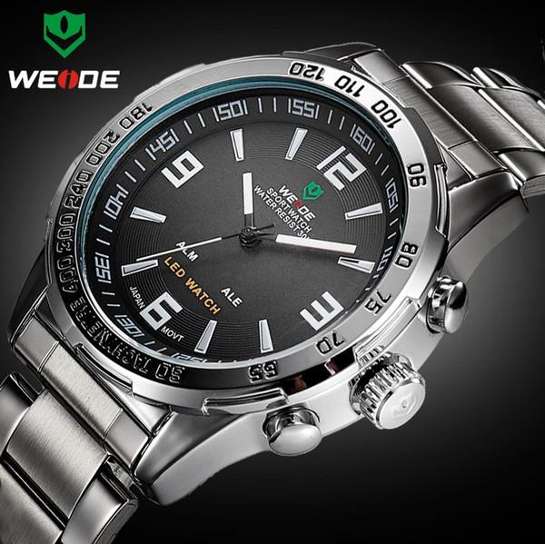 2018 Nuovi orologi da uomo Weide Full Steel Orologio al quarzo con orologio digitale da polso Sport Relogio Masculino