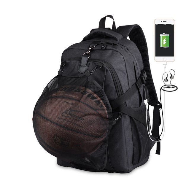 Sport Men Basketball Backpack School Bag For Teenager Boys Soccer Ball Pack Laptop Bag Football Net Gym Bags Male