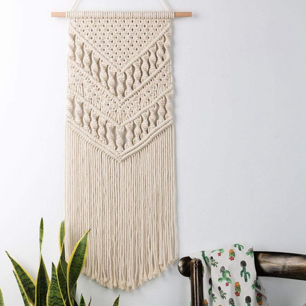 Macrame Woven Wall Hanging Boho Chic Bohemian Room Geometric Tapestry Art Beautiful Apartment Dorm Room Decoration 14in